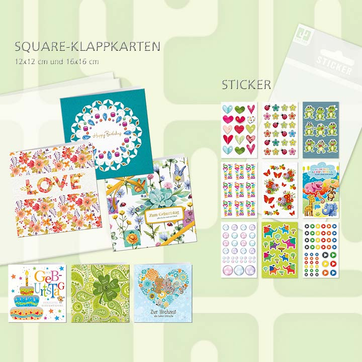 Square folding card range
